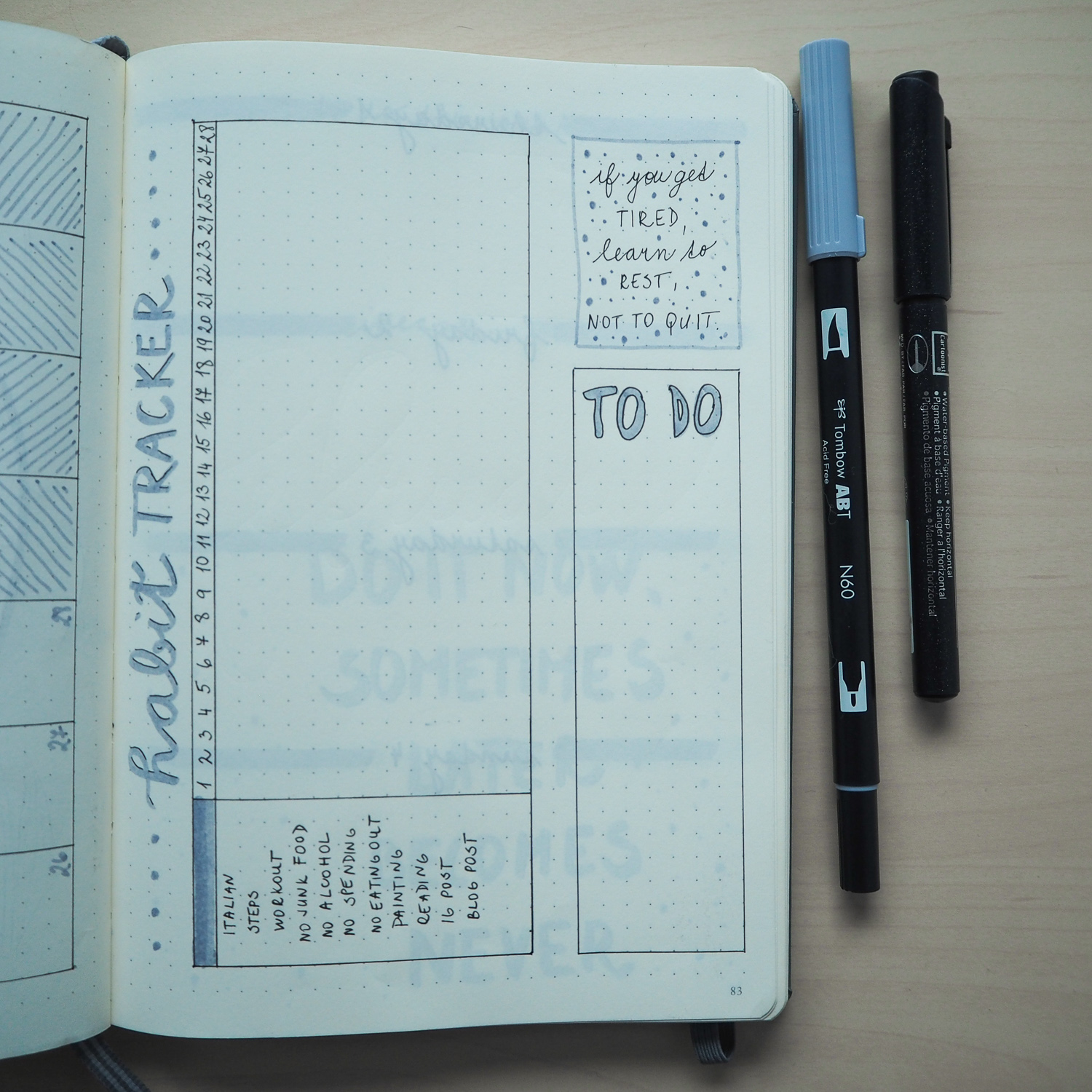 bullet journal minimalist layout